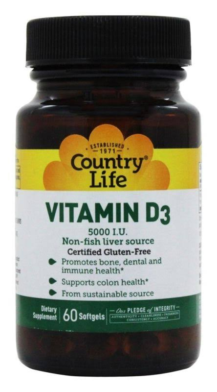 Country Life Vitamin D3 5000 IU 60