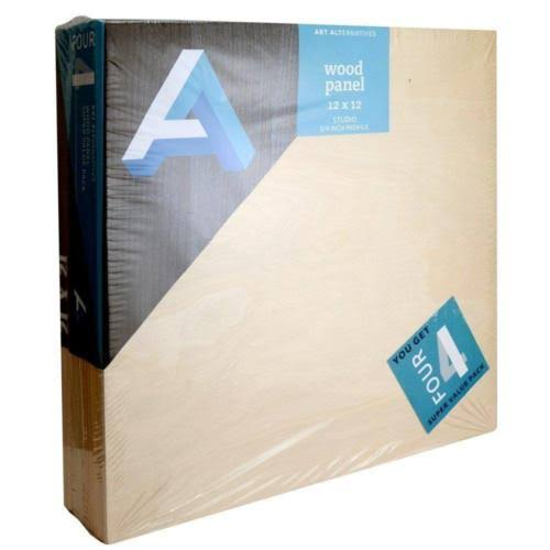 Art Alternatives Wood Panel Super Value 12x12 Pack of 4