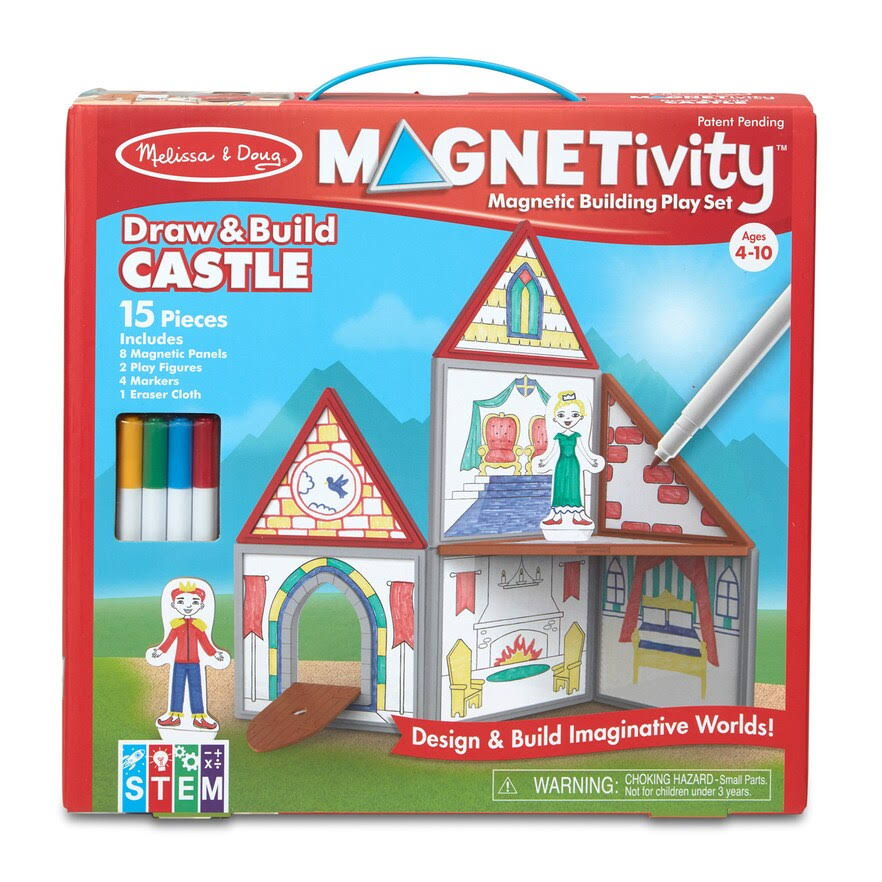 Melissa & Doug Magnetivity Magnetic Building Play Set- Draw & Build Castle
