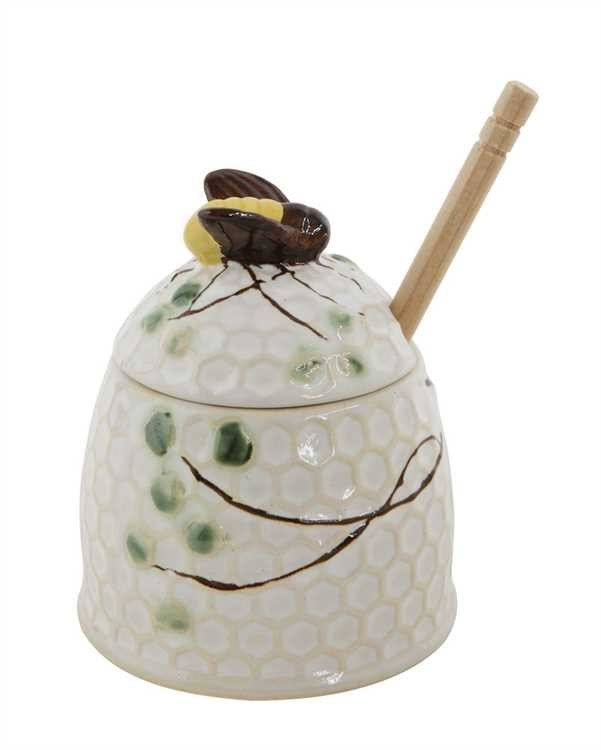 Creative Co-op Stoneware Honey Jar with Honey Dipper