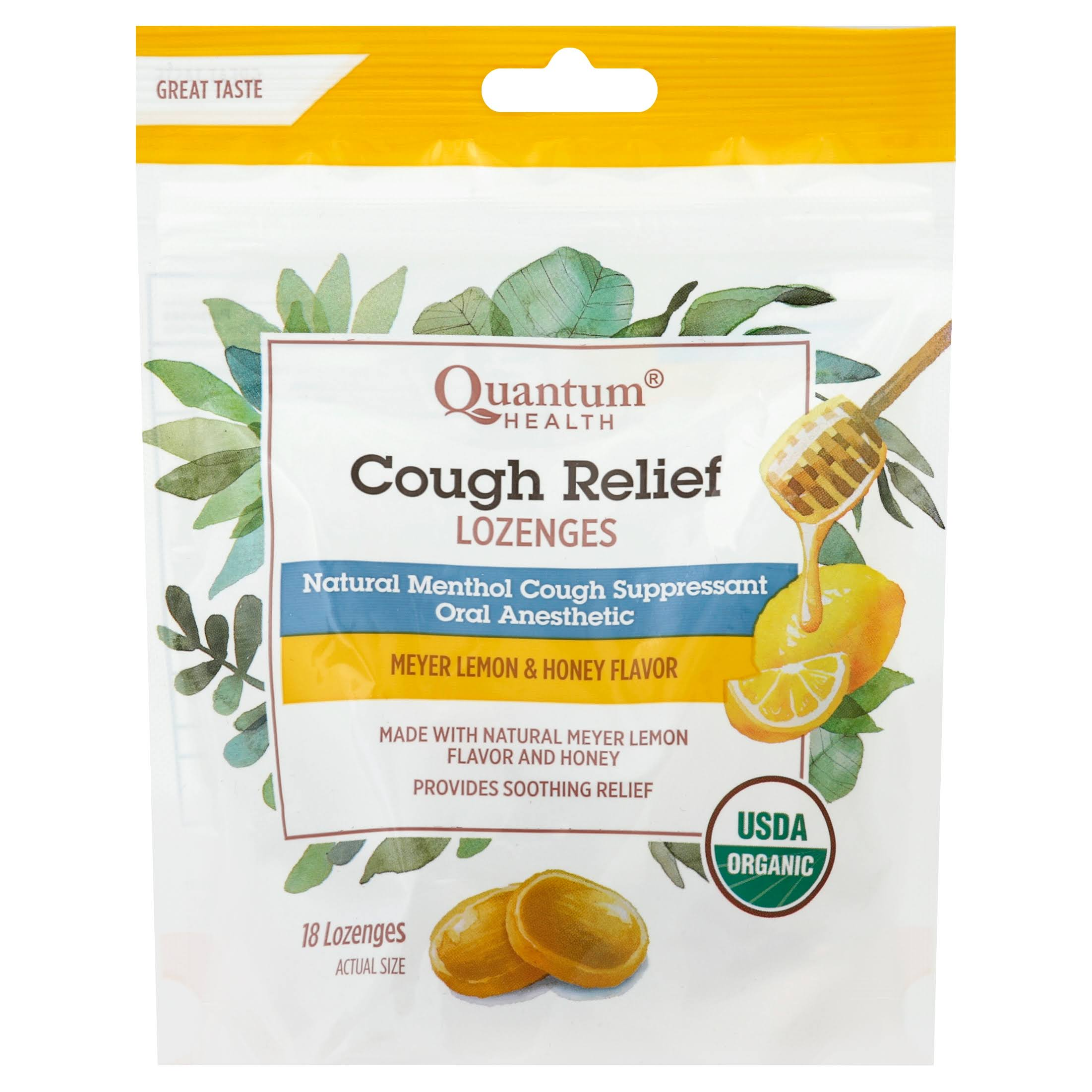 Quantum Cough Relief Meyer Lemon & Honey Flavor Lozenge - 18ct