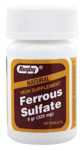 Rugby Ferrous Sulfate 325mg Natural Iron Supplement - 100 Tablets