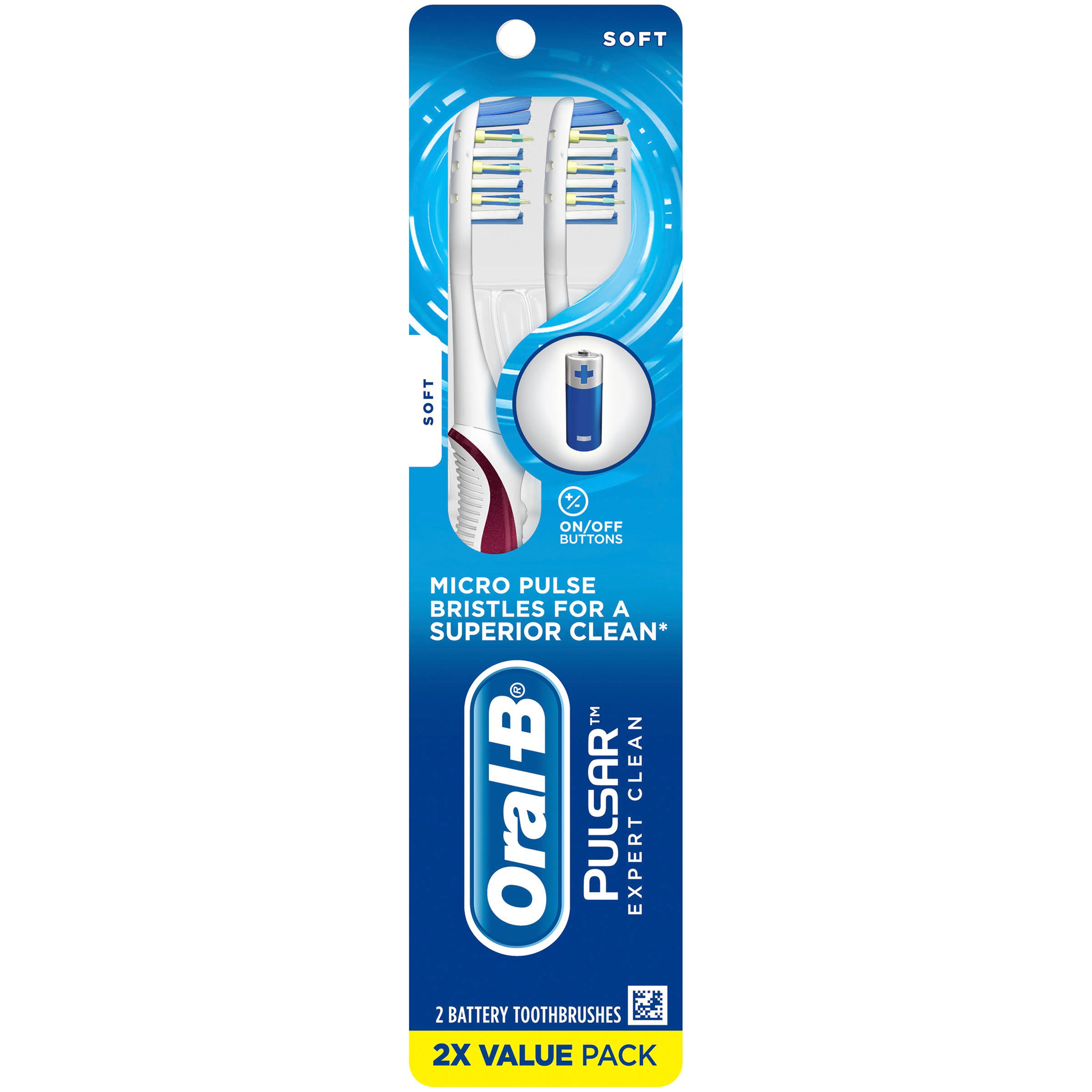 Oral B Pro Health Pulsar Soft Battery Powered Toothbrushes Value Pack - 2pk