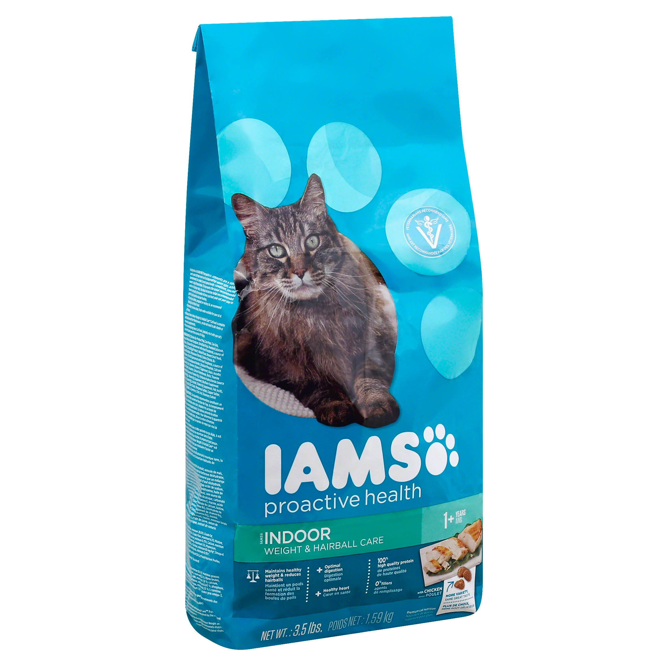 Iams Proactive Health Indoor Weight & Hairball Care Dry Cat Food - 3.5
