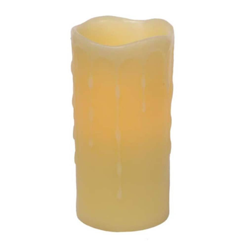"Melrose International Battery Operated LED Wax Dripping Pillar Candle - Off-White, 3""x6"", 6ct"