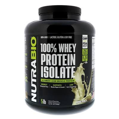 NutraBio Alpine Vanilla 100 Whey Protein Isolate Powder - 5lb