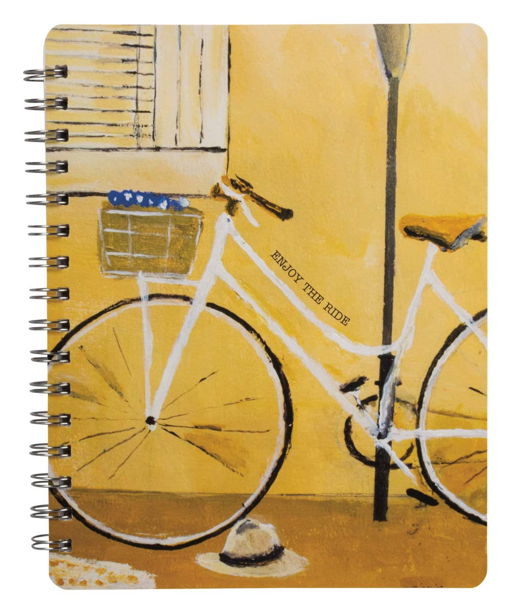 Primitives by Kathy Notepads and Notebooks - Tangerine 'Enjoy The Ride' Bicycle Notebook