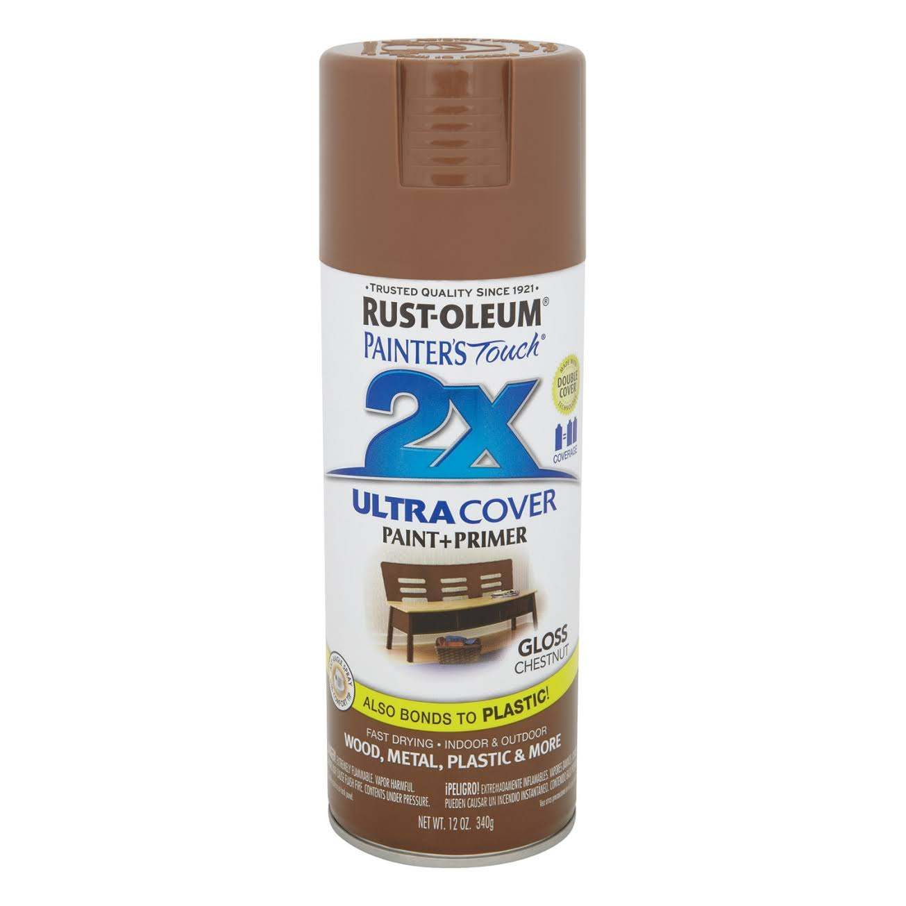 Rust-Oleum Painter's Touch 249847 2x Ultra Cover Spray Paint, 12 oz, Gloss Chestnut