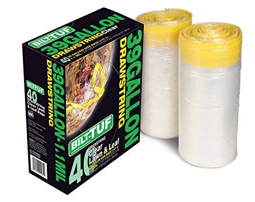 Bilt-Tuf Clear Lawn and Leaf Drawstring Garbage Trash Bags - 39gal, 40pk