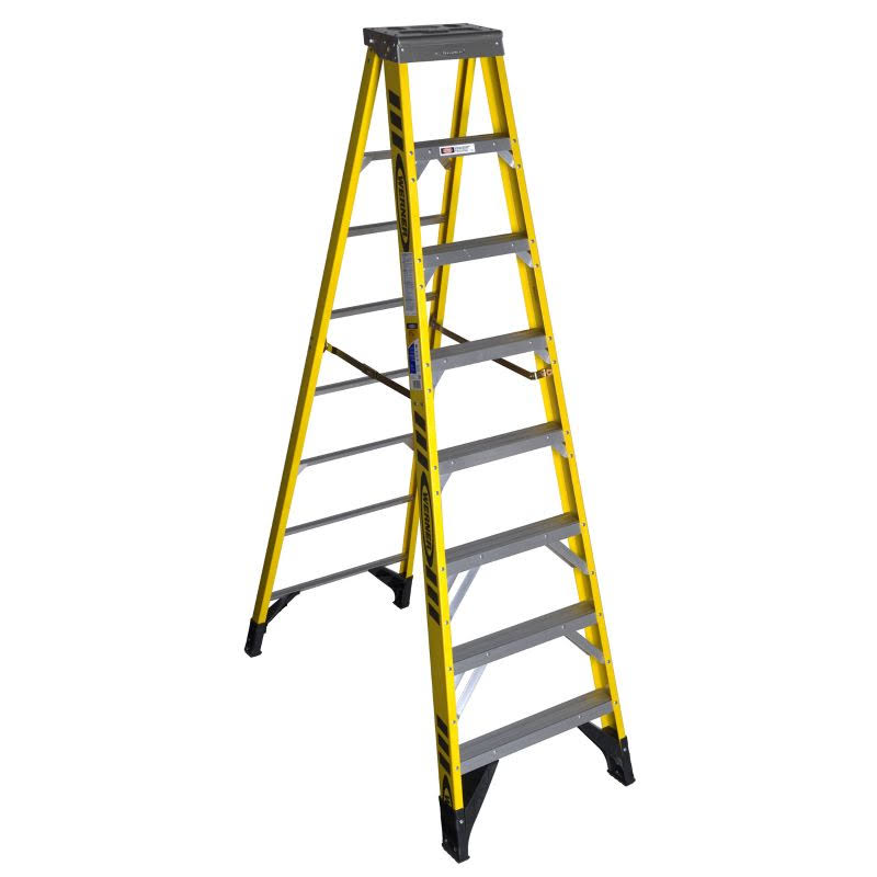 Werner 7308 Fiberglass Step Ladder - Yellow and Silver