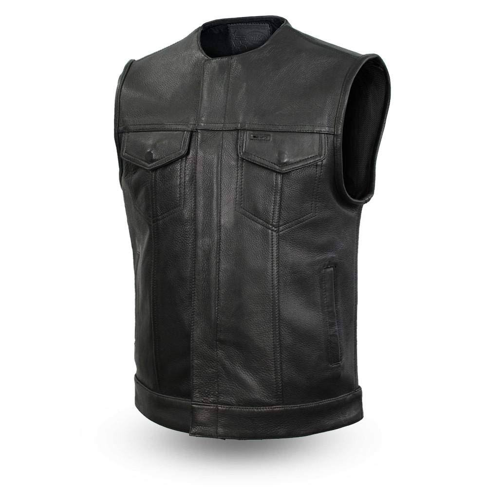 First Manufacturing FIM638CPM-S-BLK Highside Men's Leather Vest (Small, Black)
