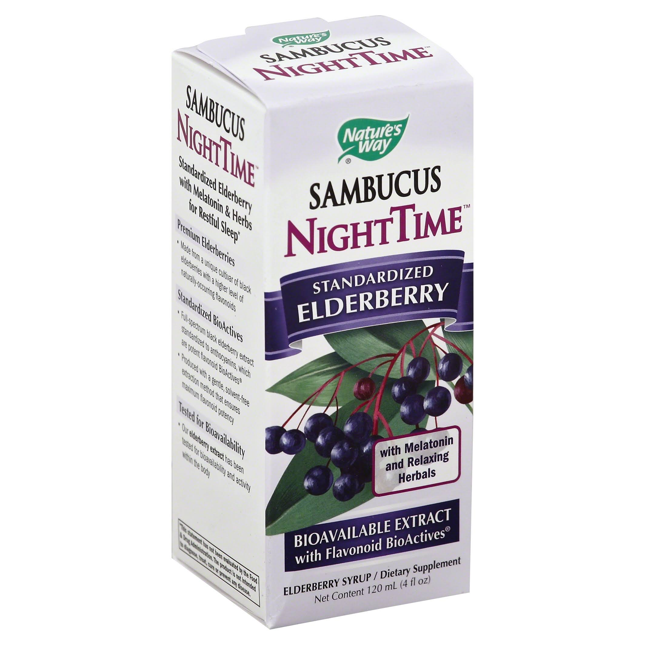 Nature's Way Sambucus Nighttime Standardized Elderberry Liquid - 4 oz