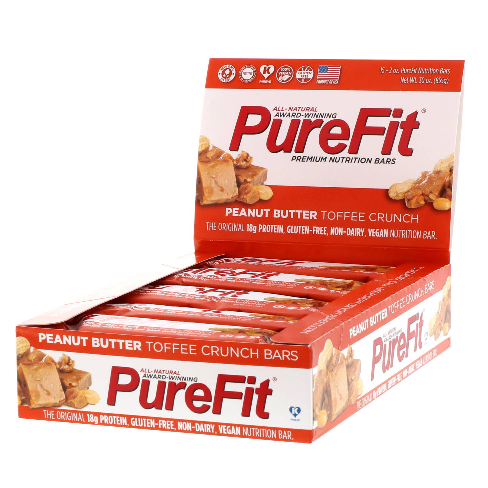 PureFit Gluten-Free Nutrition Bar - Peanut Butter Toffee Crunch, 2oz, 15pcs