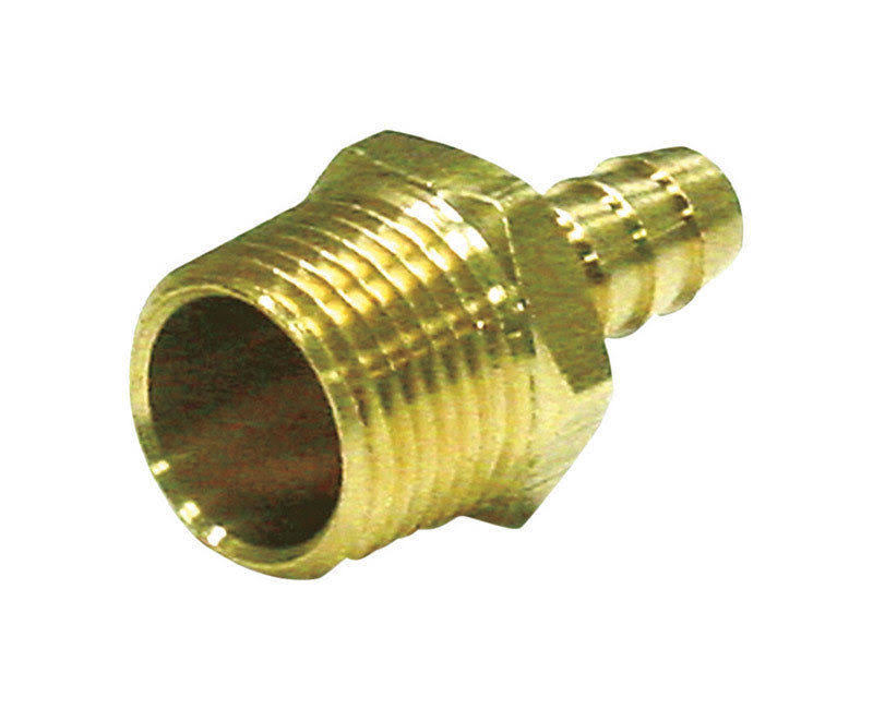 "JMF Hose Barb - Yellow Brass, 1/2"" x 1/4"""