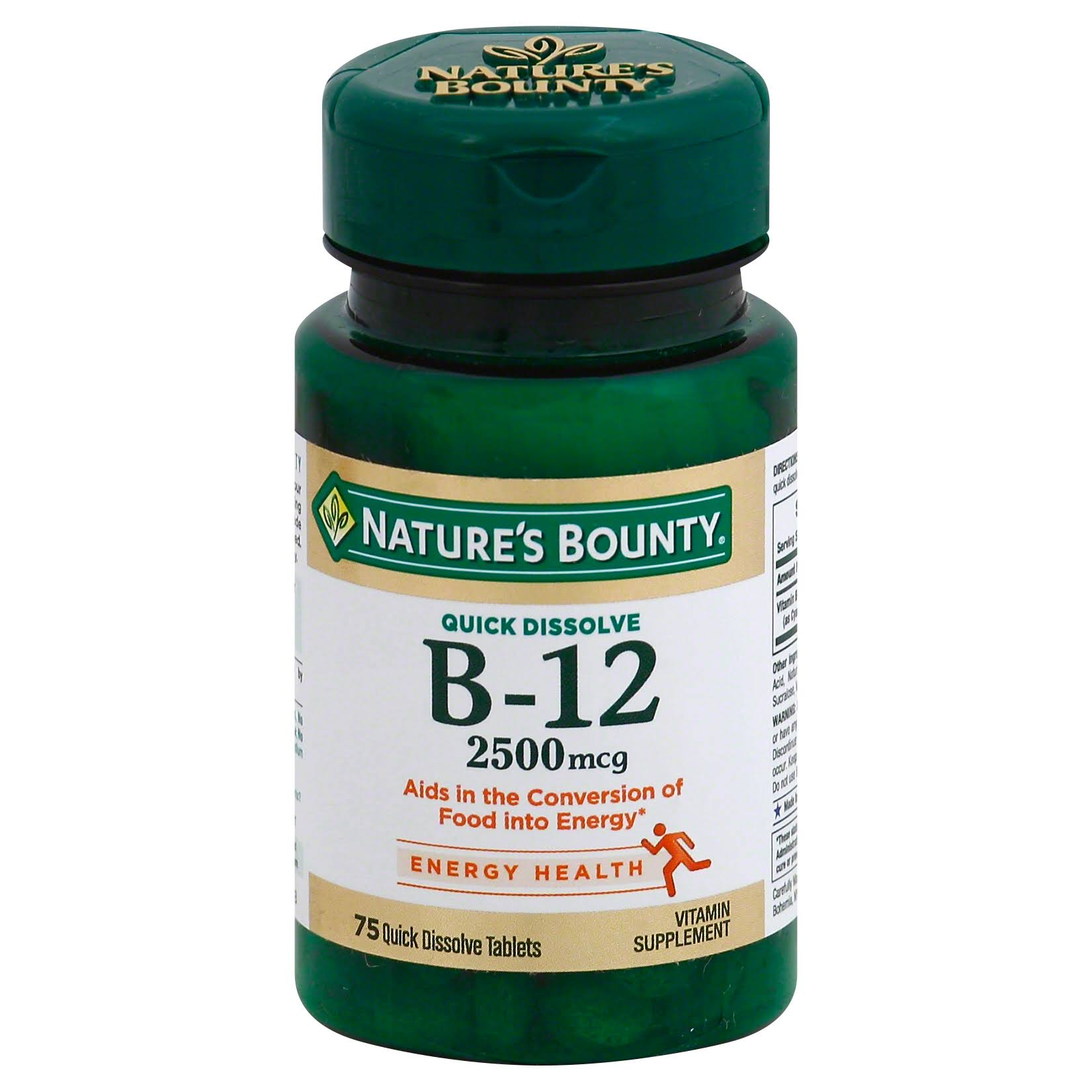 Nature's Bounty B-12 Supplement - Natural Cherry Flavor, 75 Quick Dissolve Tablets