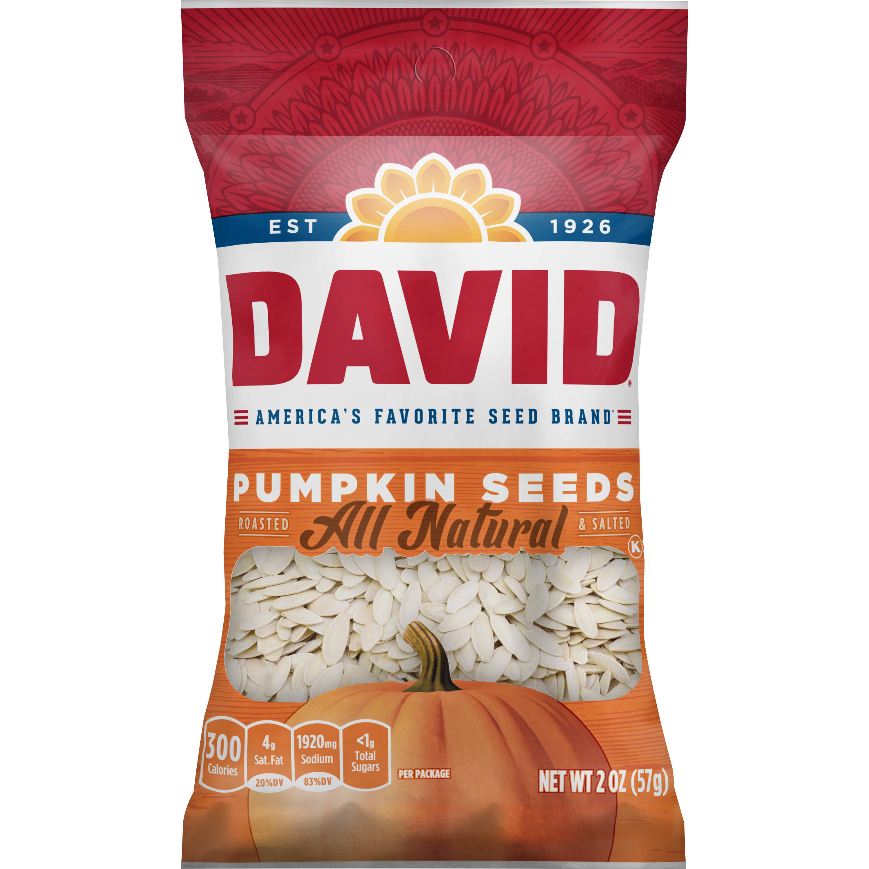David Roasted and Salted Pumpkin Seeds, 2.25 oz