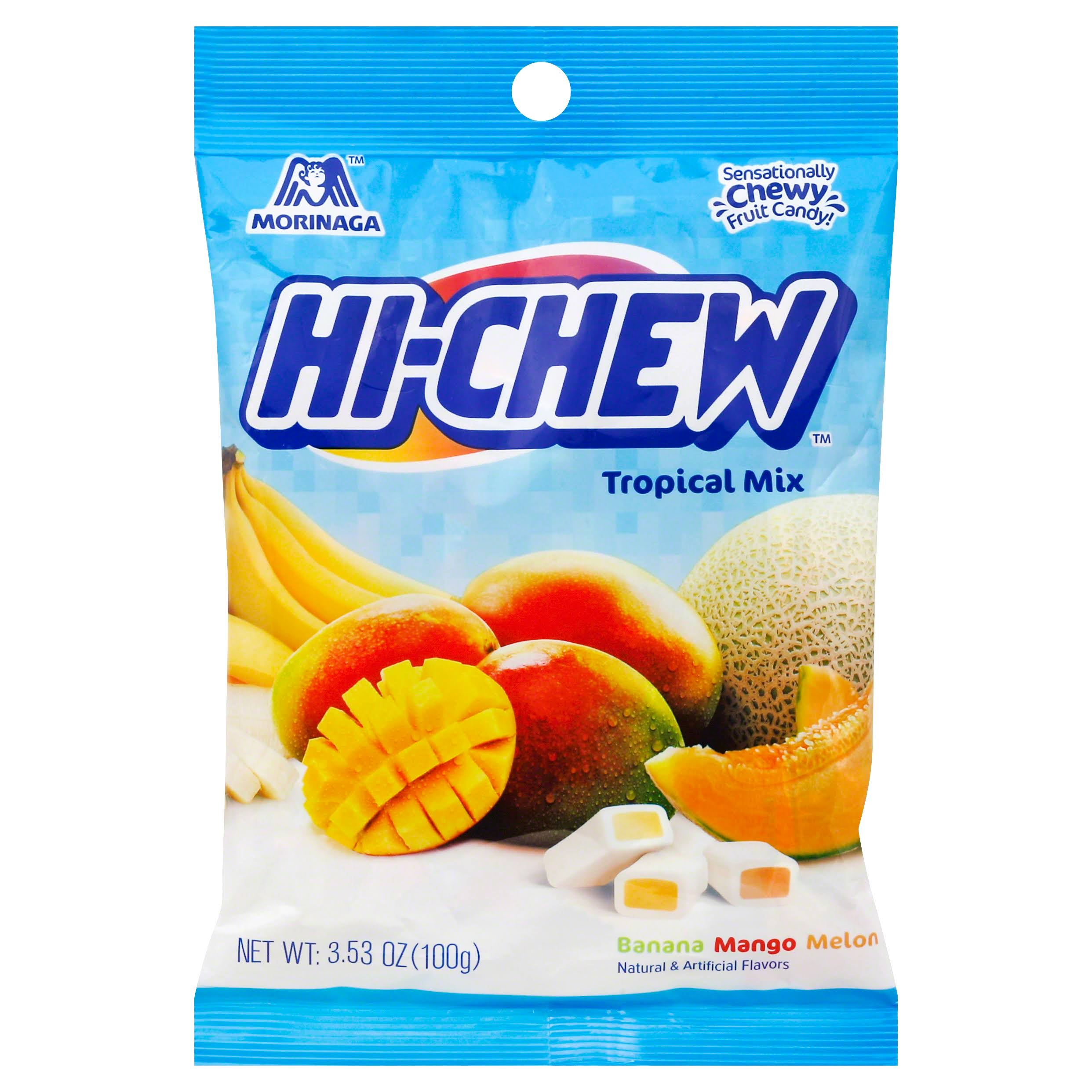 Hi Chew Candy, Chewy Fruit, Tropical Mix - 3.53 oz