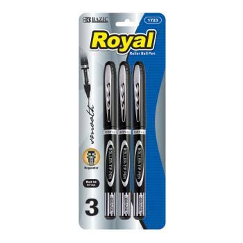 Bazic Royal Black Rollerball Pen (3/Pack)