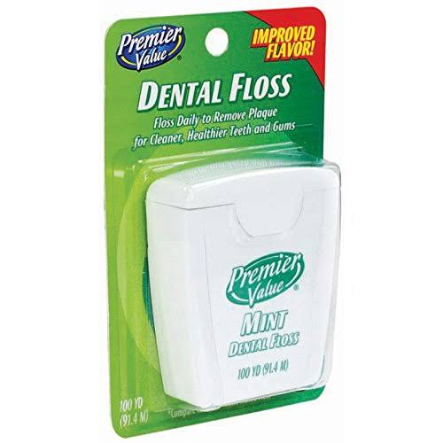 Premier Value Dental Floss - Wax Mint, 100yd