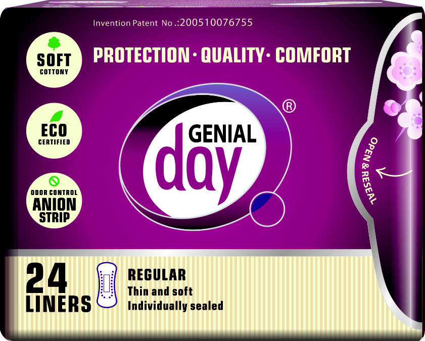 Genial Day Organic Cotton Pantiliners with Anion Strip - Regular, 24 Liners
