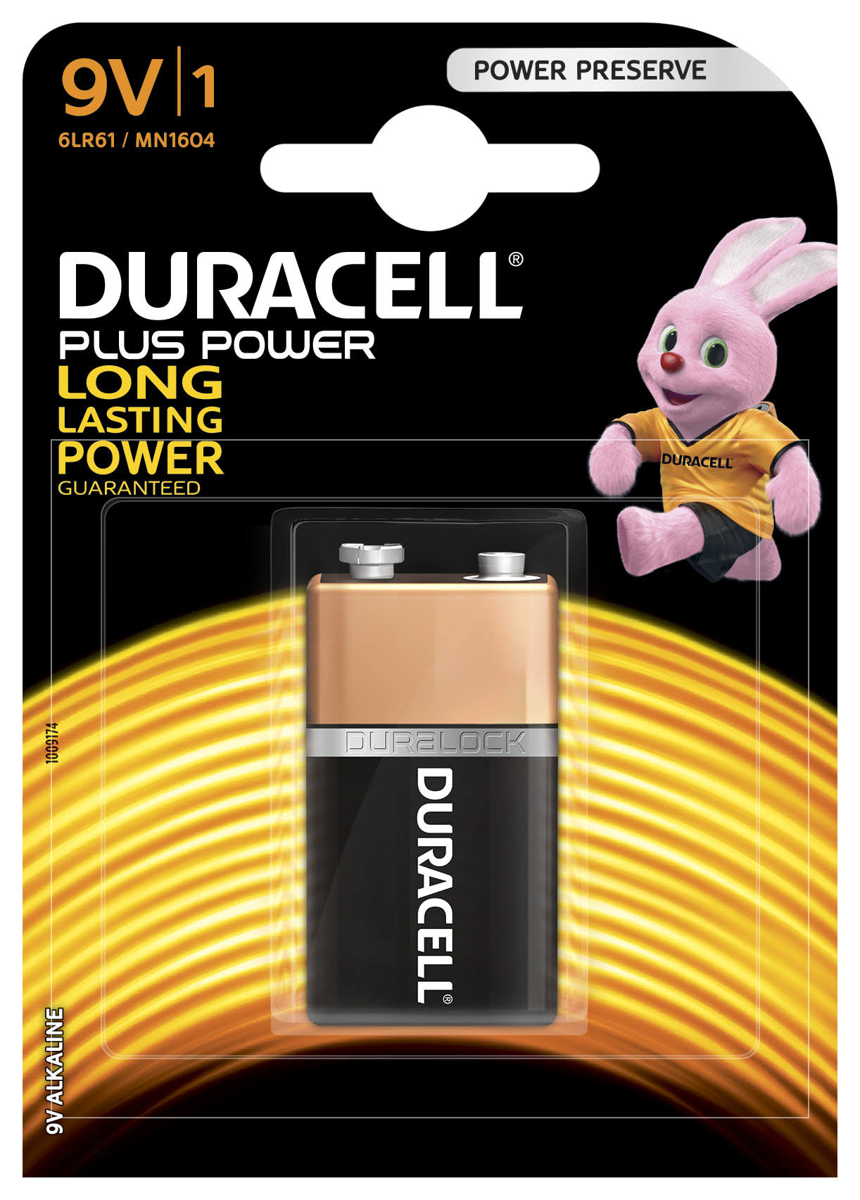 Duracell Plus Power Type Alkaline Battery - 9V