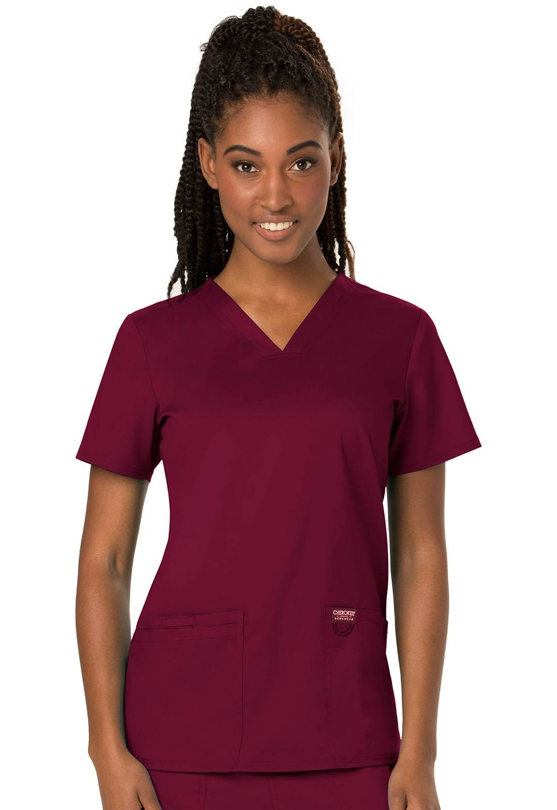 Cherokee Workwear Revolution V-Neck Scrub Top - S - Wine