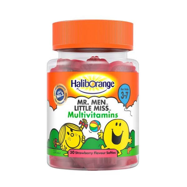 Haliborange Mr. Men Little Miss Multivitamins - 30ct, Strawberry Flavour Softies for Kids 3-7