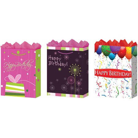 Case of [24] Large Happy Birthday Gift Bags (Matte)