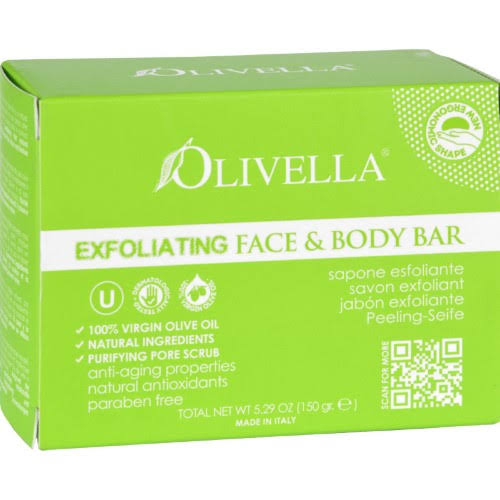 Olivella Face and Body Bar Soap - Exfoliating, 5.29oz, 4pk