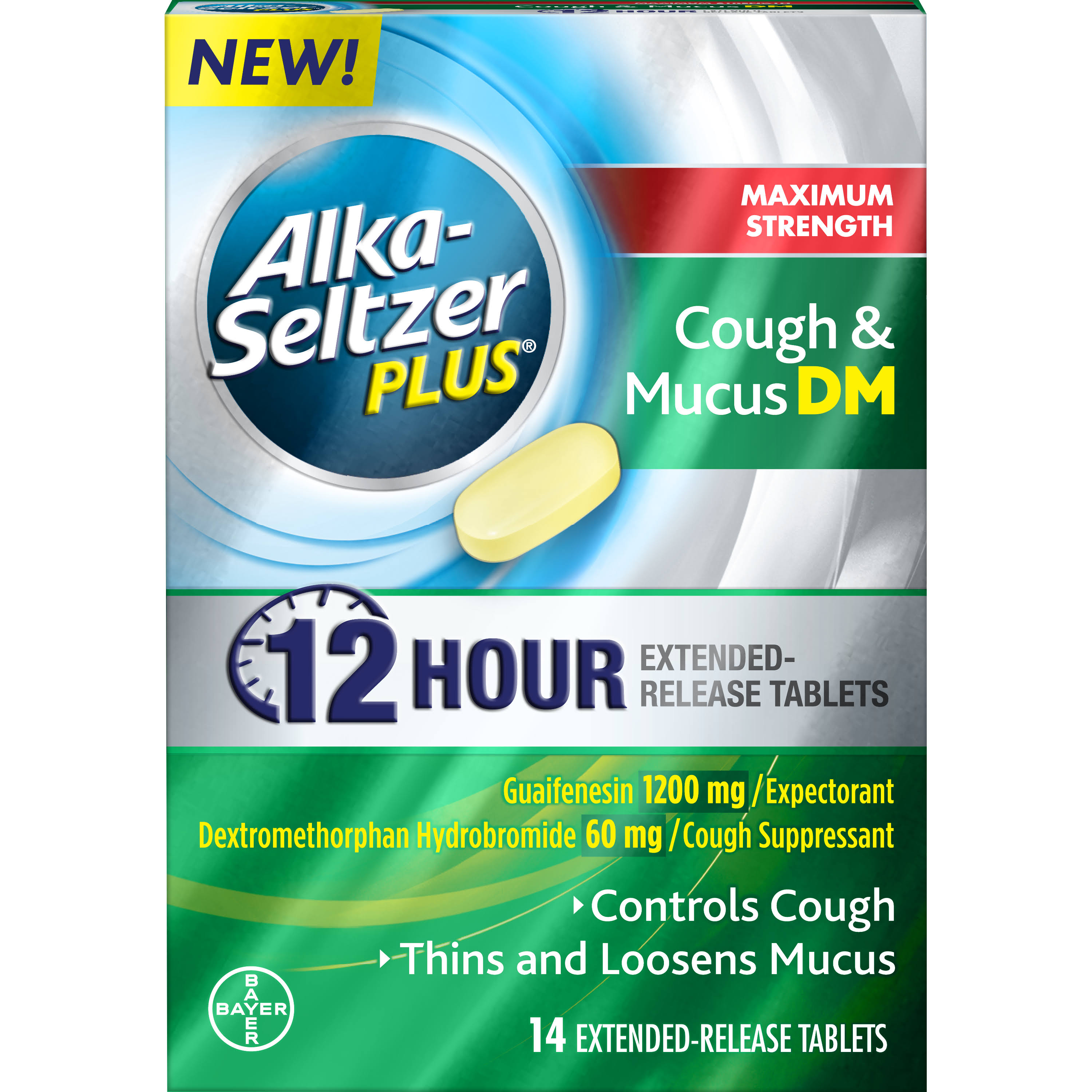 Alka Seltzer Plus Cough & Mucus DM, Maximum Strength, Extended-Release Tablets - 14 tablets