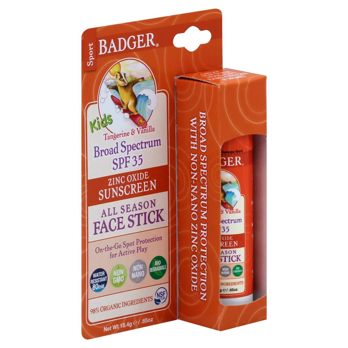 Badger Kids Sport Sunscreen Stick - Broad Spectrum, Tangerine and Vanilla, SPF 35