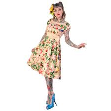 banned cream floral bird print rockabilly 50s vintage pinup party