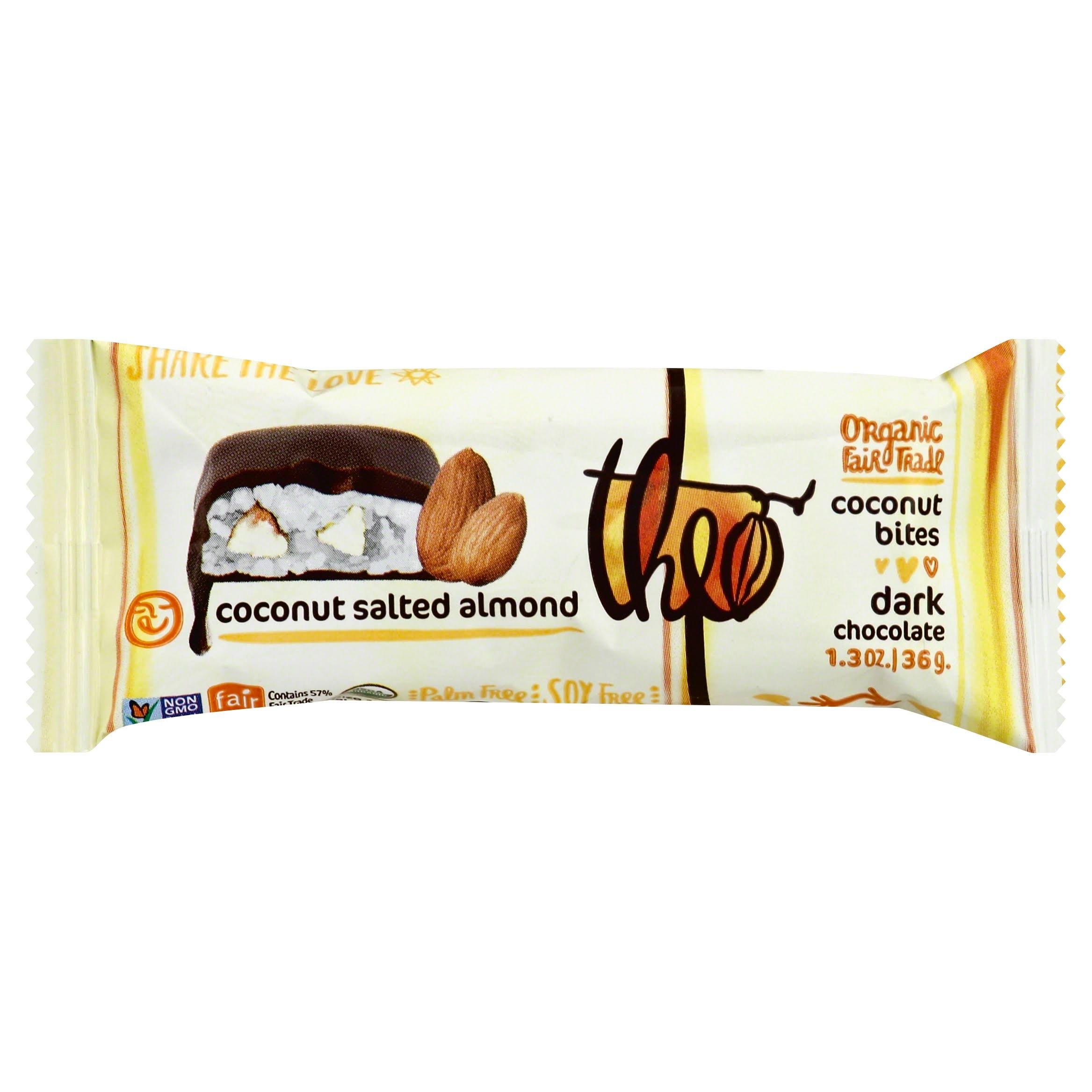 Theo Coconut Bites, Dark Chocolate, Coconut Salted Almond - 1.3 oz