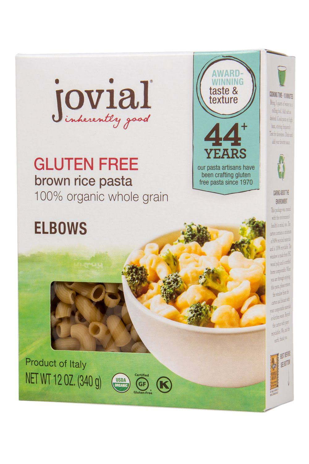 Jovial Inherently good Pasta, Brown Rice, Gluten Free, Elbows - 12 oz