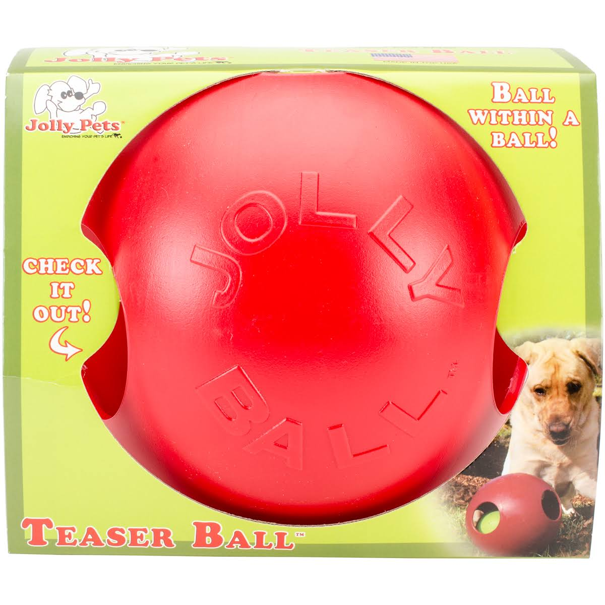Jolly Pets Teaser Ball - Red, 8""
