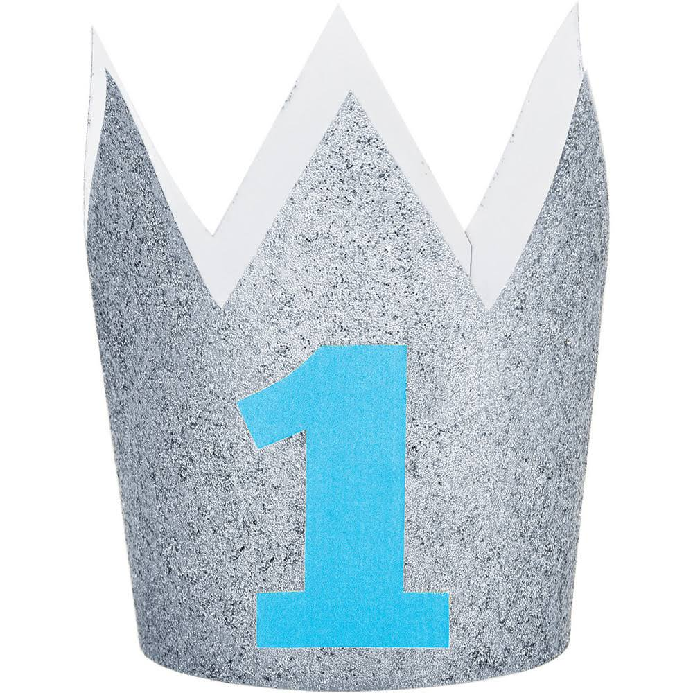 Creative Converting 1st Birthday Glitter Crown - Blue and Silver