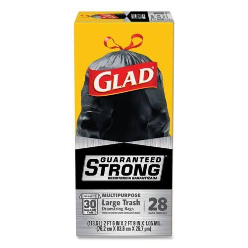 Glad 78966 Drawstring Large Trash Bags - Black, 30gal, 28ct