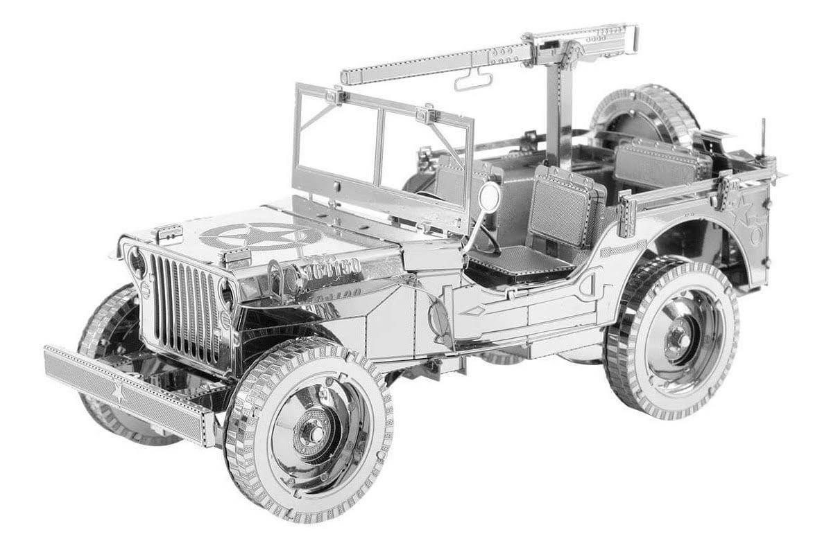 Fascinations ICONX 107 Willys MB Jeep 3D Metal Model Kit - Silver