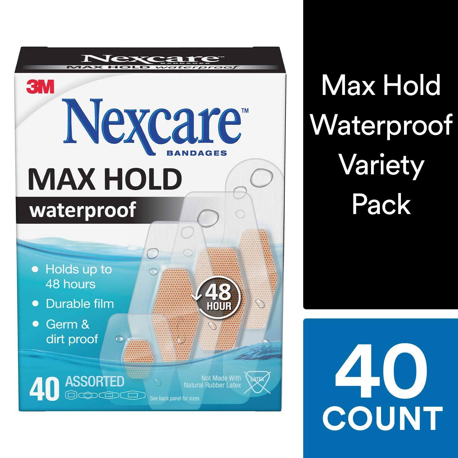 Nexcare Max Hold Waterproof Bandages, Assorted, 40 Count