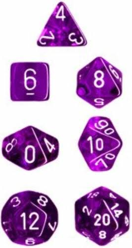 Chessex - Translucent Polyhedral Purple/White 7-Die Set