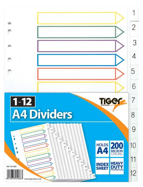 Tiger 301068 1-12 Strong Filing Subject Dividers