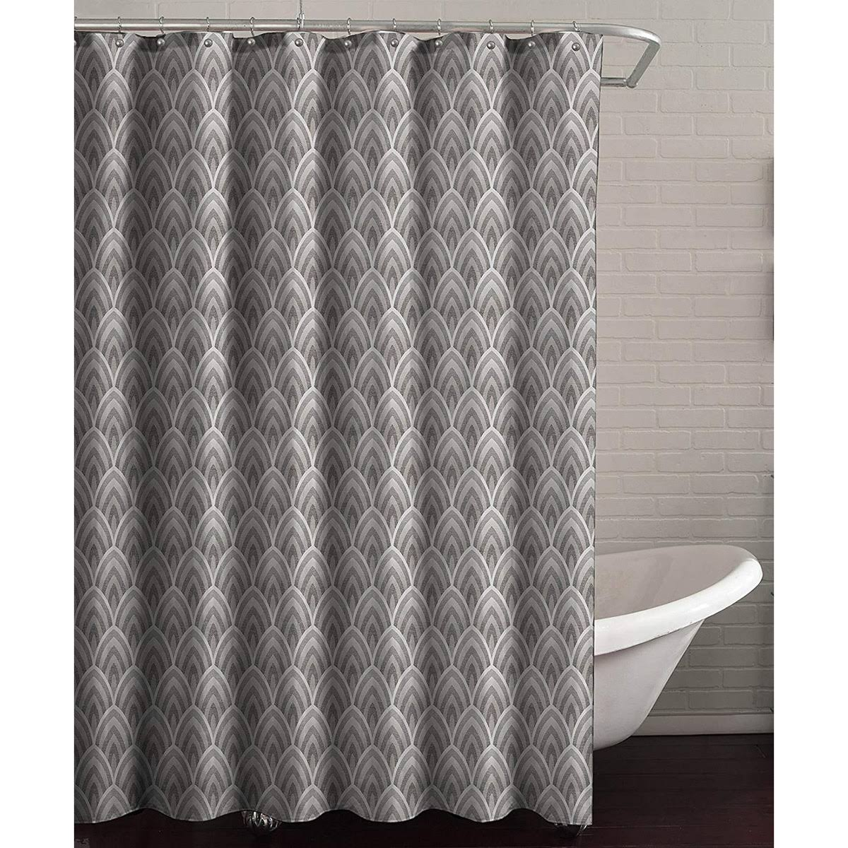 Lorraine Home Fashions Deco Shower Curtain, 70 inch x 72 inch, Gray