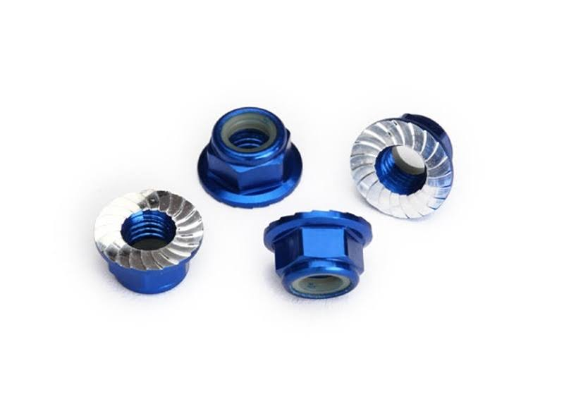 Traxxas 8447X Flanged Nylon Locking Nuts - Blue, 5mm