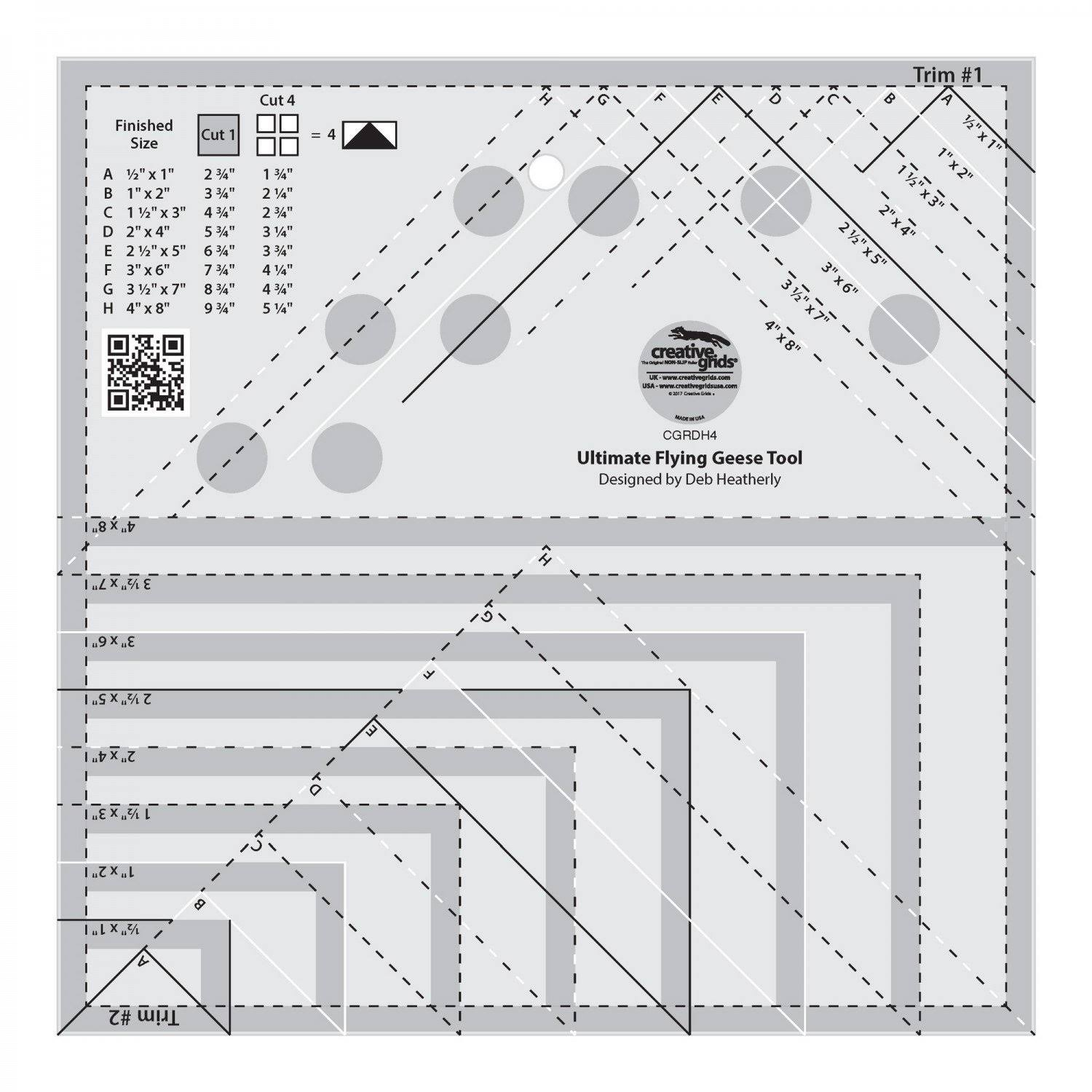 Creative Grids Ultimate Flying Geese Template and Quilt Ruler