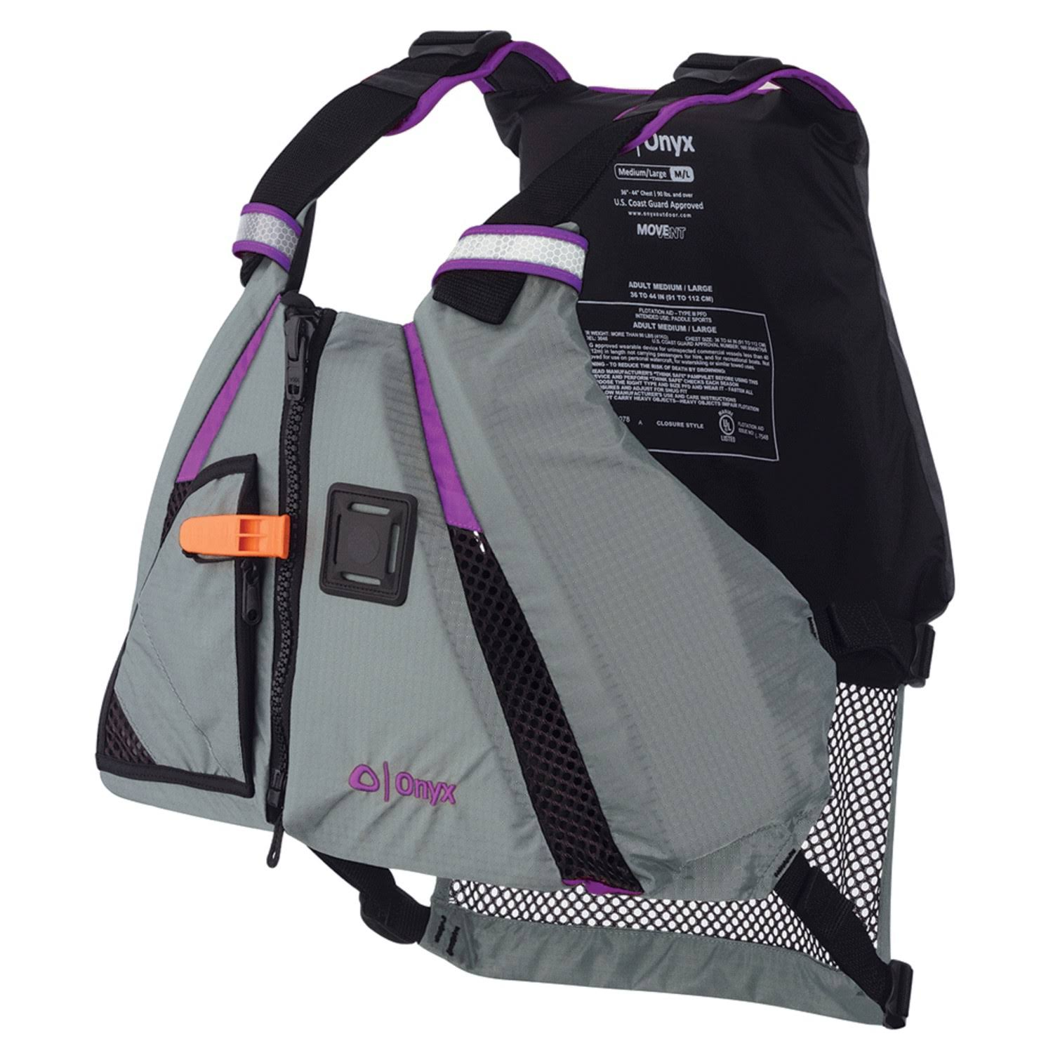Onyx MoveVent Dynamic Paddle Sports Vest - Purple/Grey, X-Small
