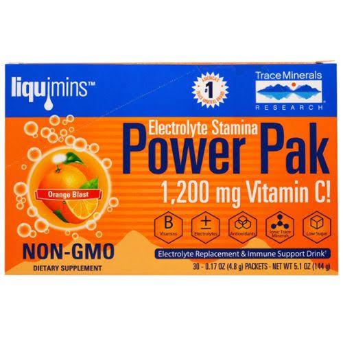 Trace Minerals Research Electrolyte Power Pak Dietary Supplement - Orange Blast, 32 Packets