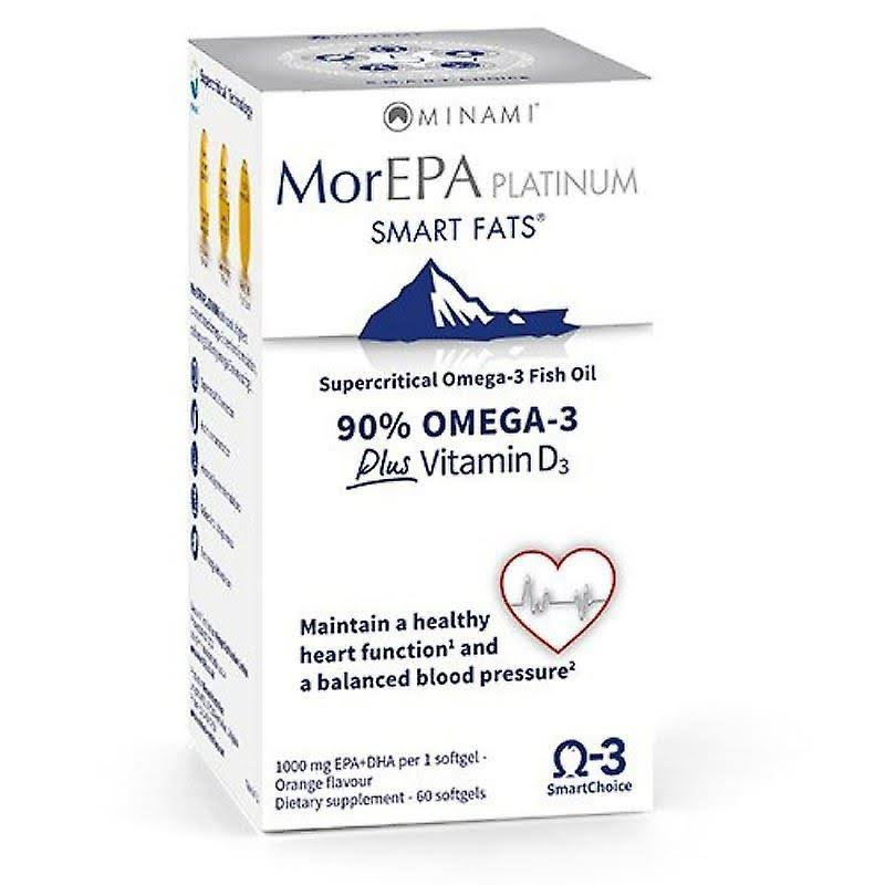 Minami MorEPA Platinum Smart Fats 90 Percent Omega-3 Plus 25mcg Vitamin D3 - 60ct