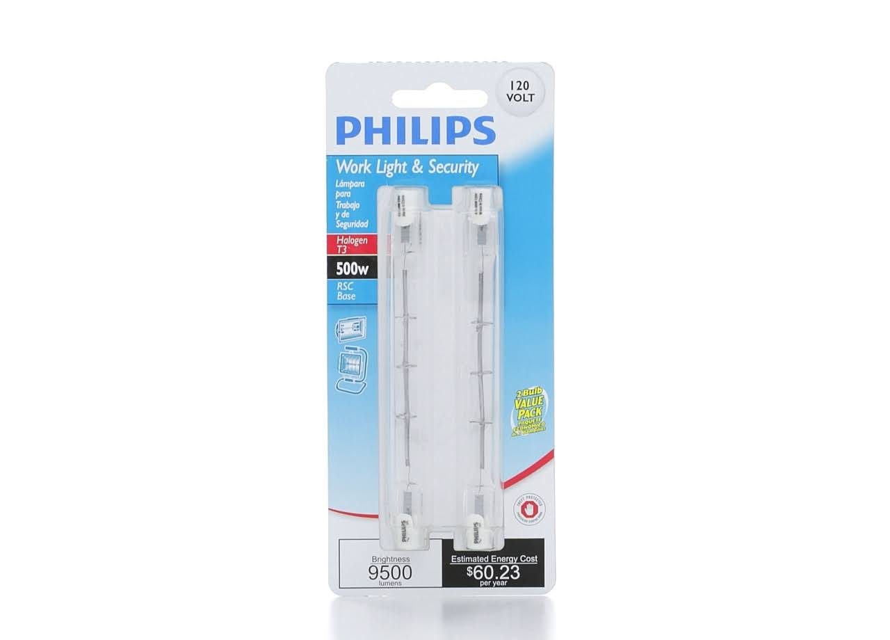 Philips Halogen T3 Double Ended Dimmable Light Bulb - 500W, x2