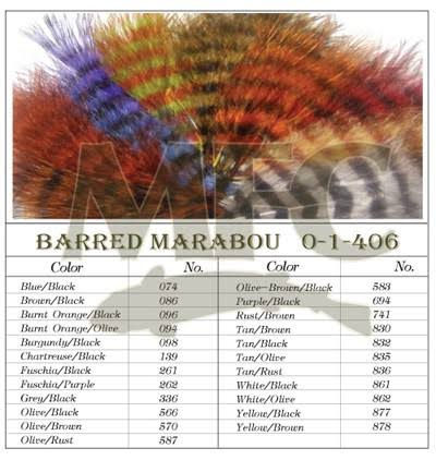 Montana Fly Company Barred Marabou Blood Quill - White/Black (1/8 oz)