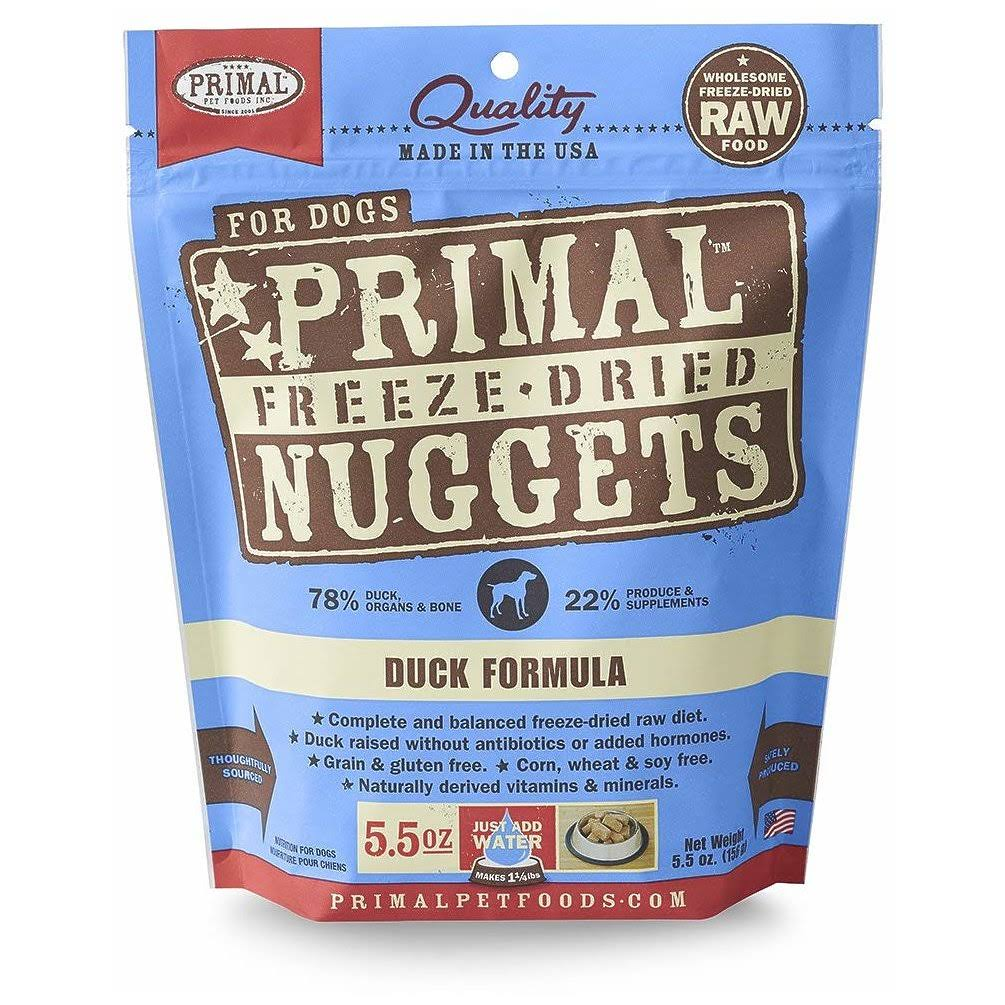 Primal Duck Formula Nuggets Freeze-Dried Dog Food - 5.5 oz bag